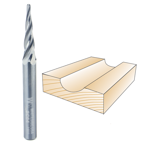 Whiteside SC64 Conical Tapered CNC Router Bit, 1/16-Inch D x 1/32-Inch R