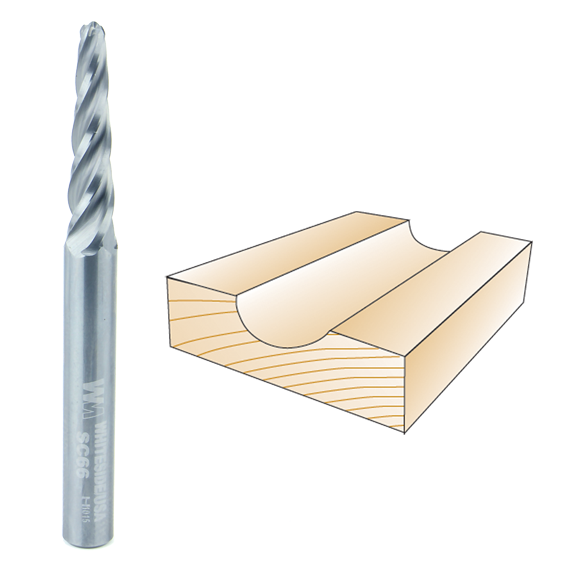 Whiteside SC66 Conical Tapered CNC Router Bit - 1/4 Inch SH X 1/8 Inch D X 1/16 Inch R
