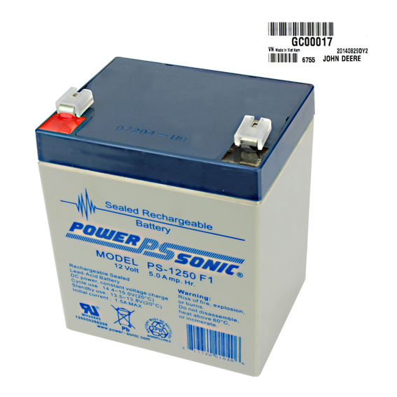 John Deere #GC00017 12V Non-Spillable Battery