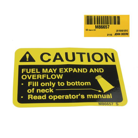 JOHN DEERE #M86657 FUEL FILL CAUTION LABEL