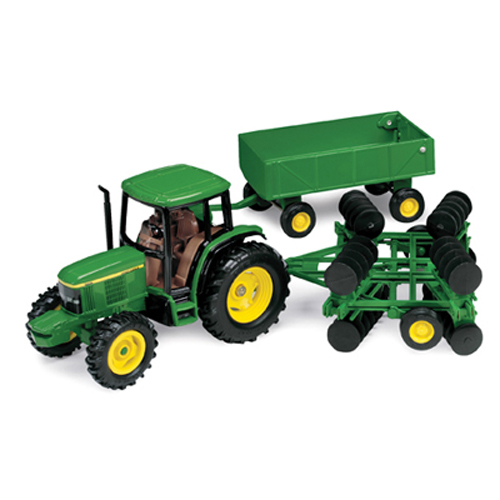 Ertl John Deere 1:32 Scale 6410 Tractor With Barge Wagon & Disk