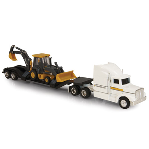 Ertl John Deere 1:64 Scale Semi With Backhoe Loader