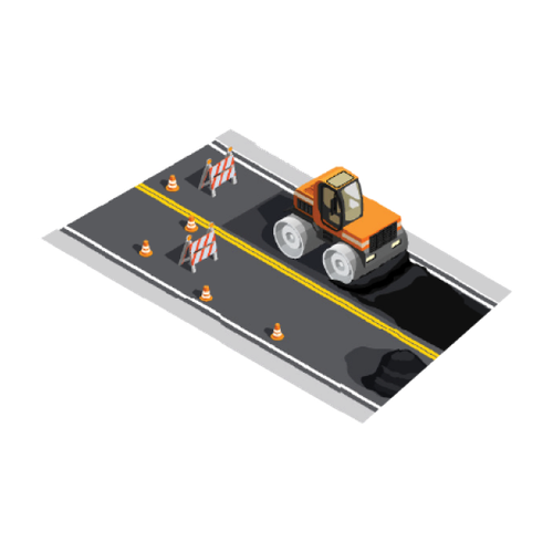 Road maintenance and street cleaning illustration