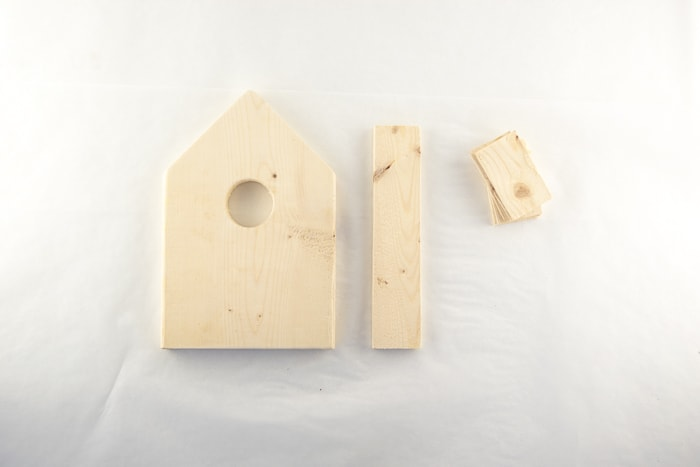 Wood cut and sanded ready to make your birdhouse ornament.
