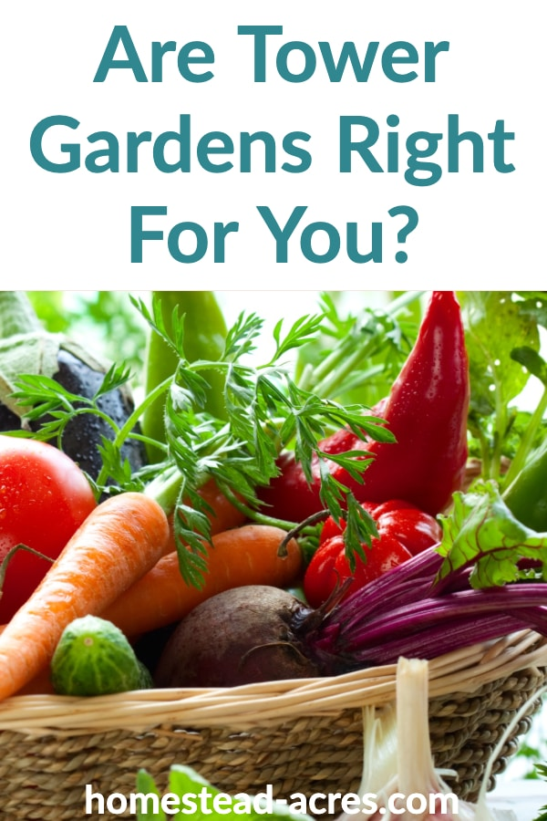Are Tower Gardens Right For You? text overlaid on a basket of fresh vegetables.