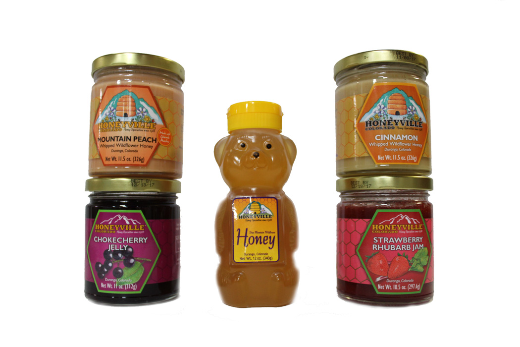 GIFT BOX: TASTE OF DURANGO W/HONEYBEAR AND SELECTION OF FOUR JARS