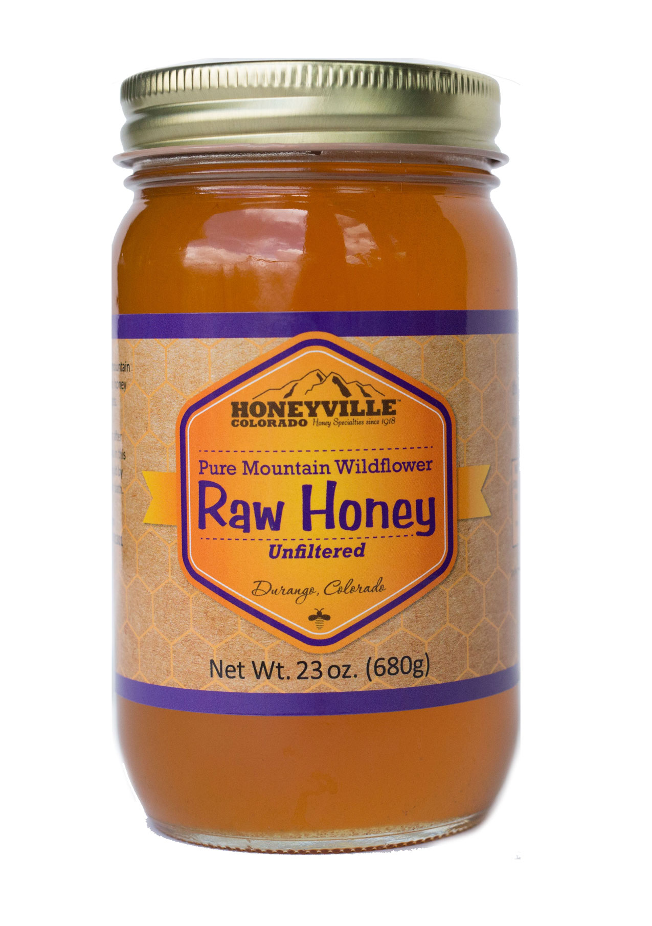 RAW HONEY:  23 OZ GLASS