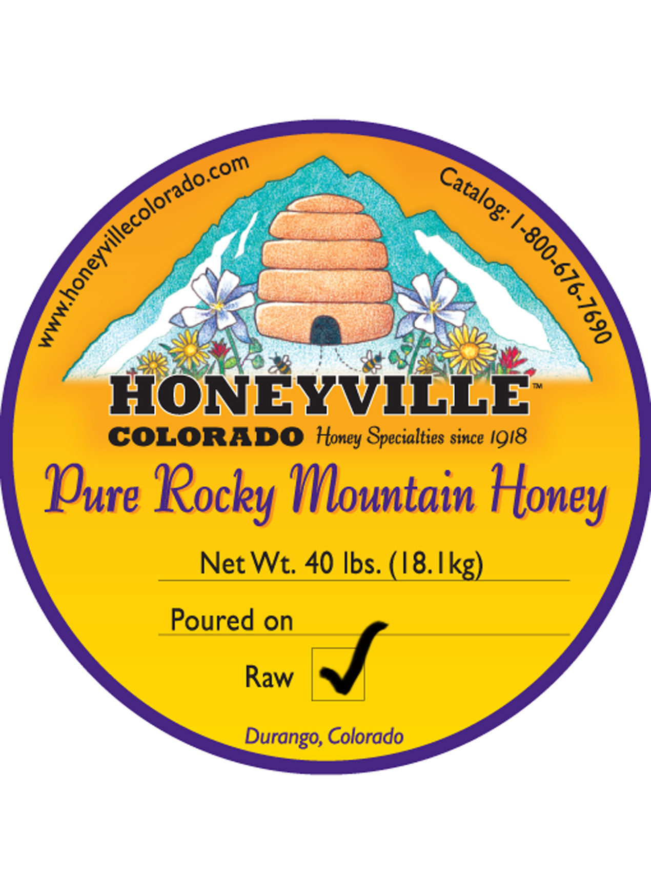RAW HONEY:  40 LB BUCKET
