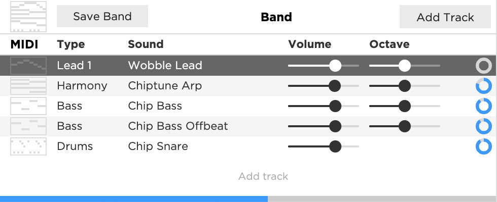 The Hookpad band editor now shows the download progress of each instrument and the overall download progress at the bottom.