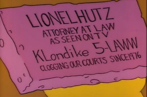 Lionel Hutz Attorney at Law Business Card