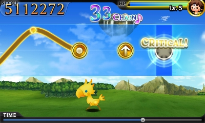 Chocobo dashing during a field stage in Theatrhythm