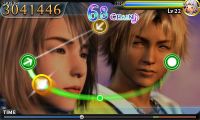 Cutscene from FFX during event stage in Theatrhythm