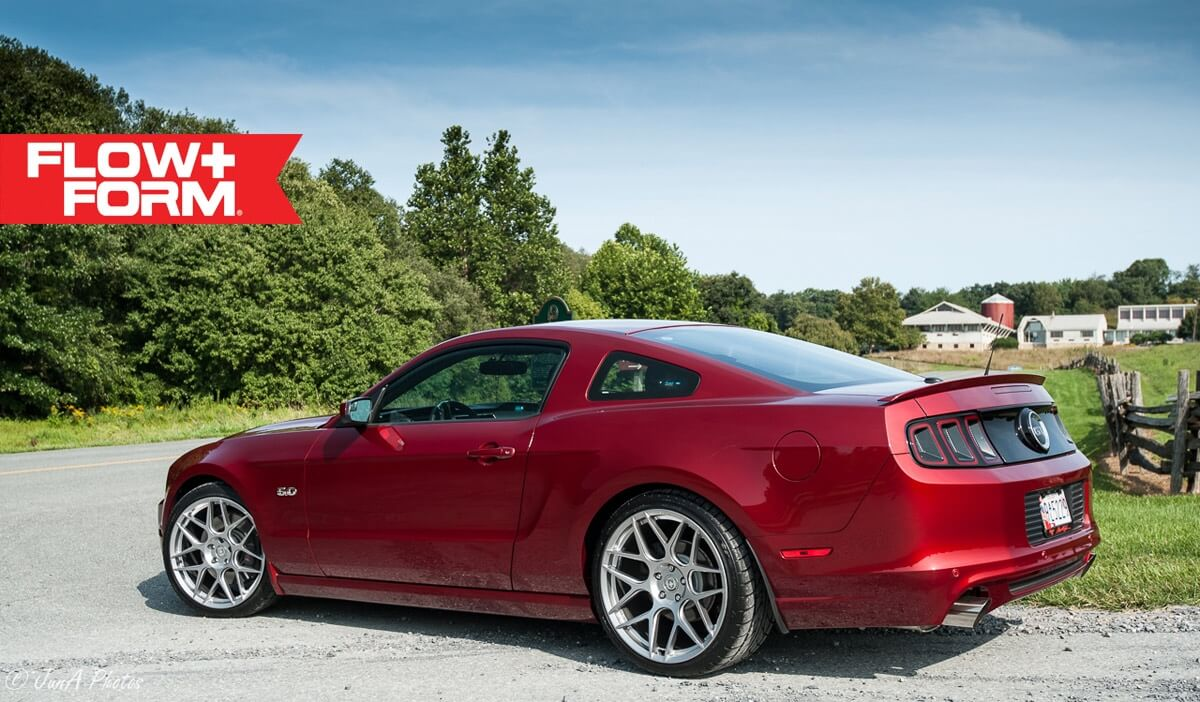 Ruby Red Ford Mustang With Ff In Liquid Silver Hre Performance Wheels