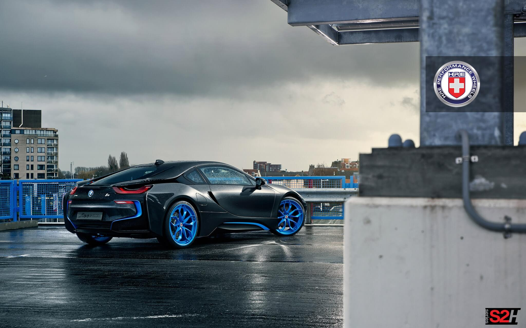 Bmw I8 With Hre S201h In Frozen Ilectric Blue Hre Performance Wheels