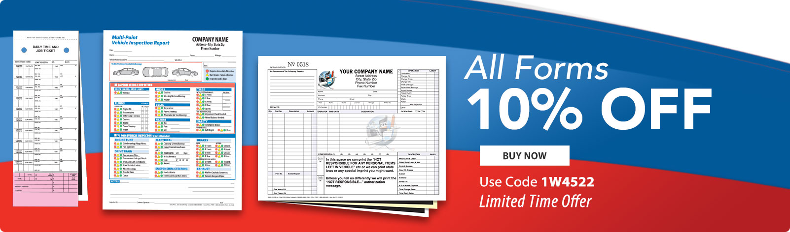 10% Off All Automotive Repair Forms!