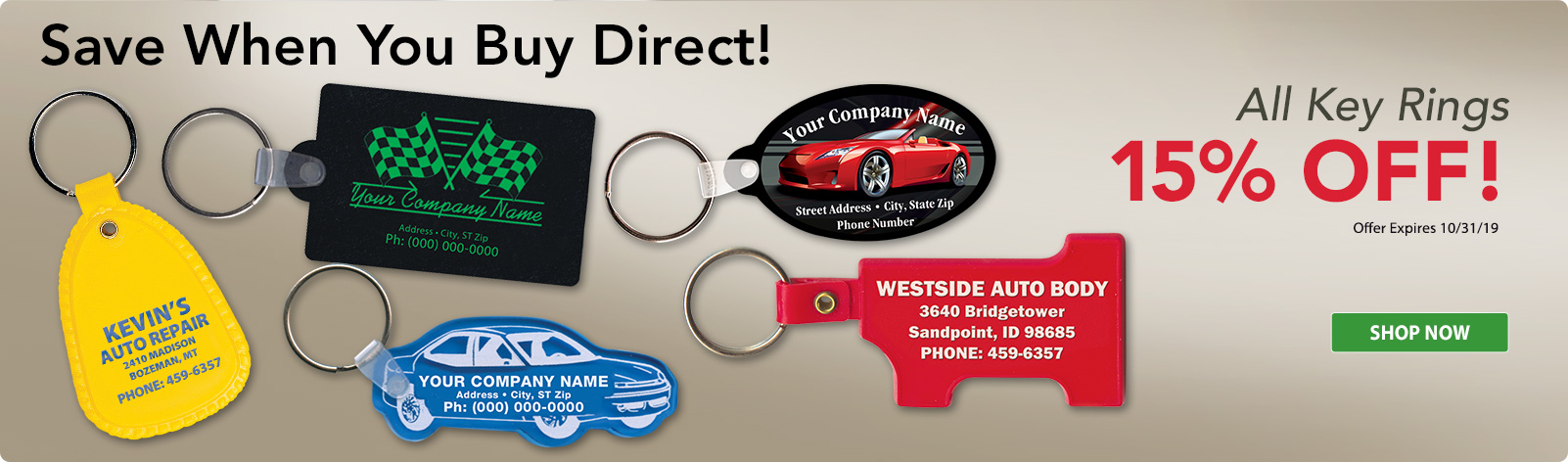 15% Off All Key Rings