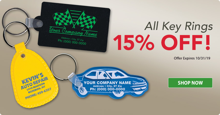 15% Off All Key Rings!