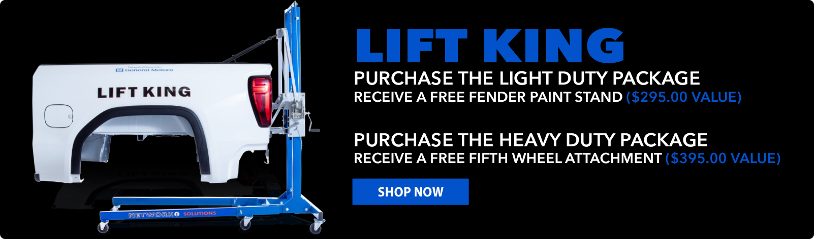 Free 5th Whell Attchemnt or Paint Stand with purchase of Heavy or Light Lift King Package!