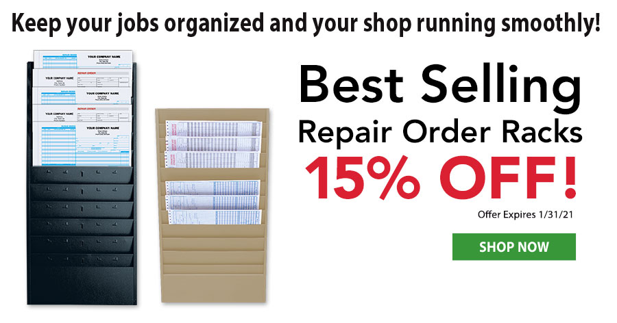 15% Off All Repair Order Racks!