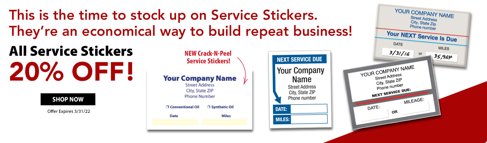 20% Off All Service Stickers!