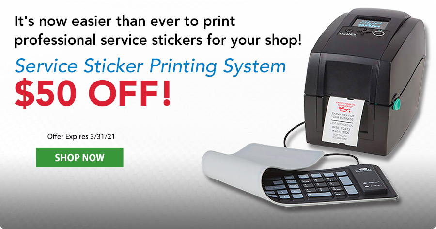 $50 Off Service Sticker Printing System!