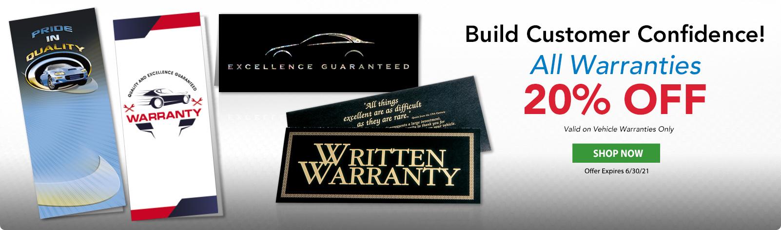 20% OFF All Vehicle Warranties!