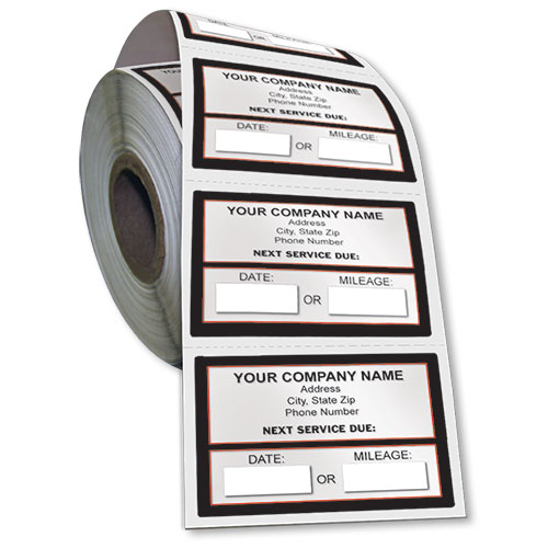 Jumbo Adhesive Service Sticker On A Roll Next Service Due