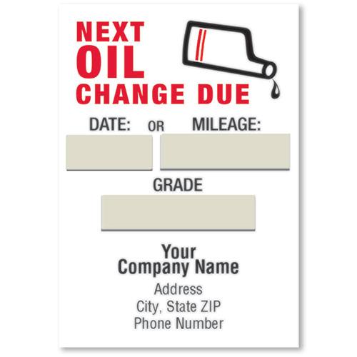 Jumbo adhesive service reminder stickers next oil change due