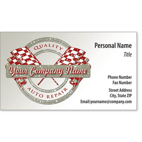Designer Automotive Business Cards - Quality Flags Mechanical