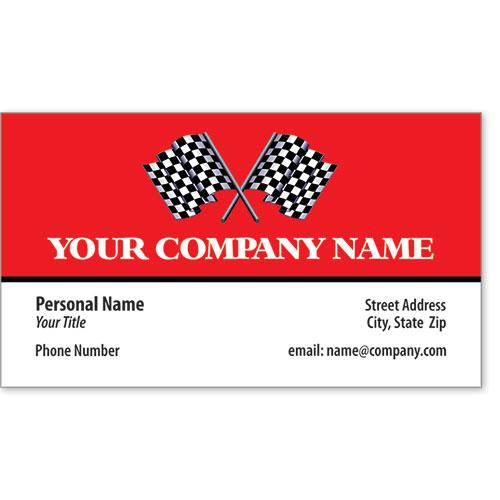 Designer Automotive Business Cards - Finish Flag