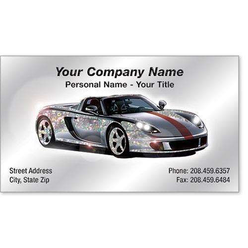 Automotive Business Cards with Foil - Silver Streak