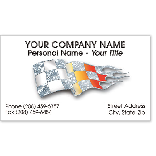 Automotive Business Cards with Foil - Shiny Checkered Flag