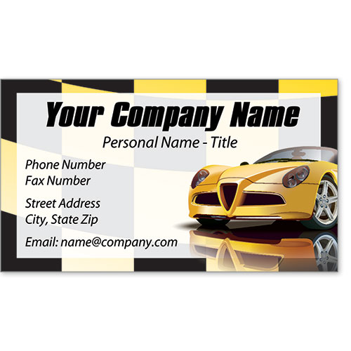 Premier Automotive Business Cards - Yellow Racer