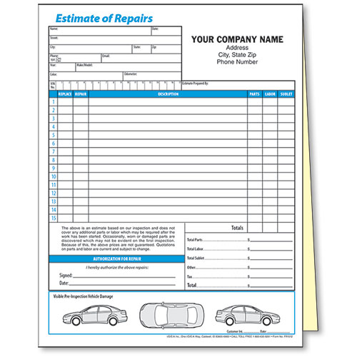 Auto Body Repair Cost Estimator: 2-Part Mechanical Estimate