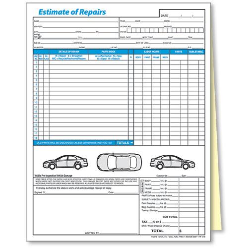 2 Part Auto Body Repair Estimate Forms