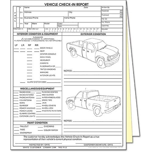 3 Part Vehicle Check In Rpt 4 Door Truck Automotive Forms