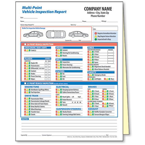 Multi Point Vehicle Inspection Form Automotive Forms