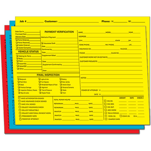 1 800 Car Cash >> Bright Color-Coded Repair Order Folders - Version 1 | Job Folders