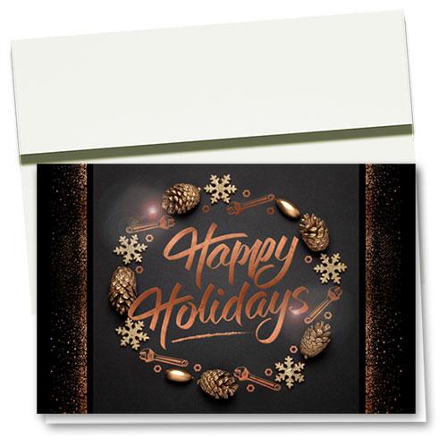 Personalized Premium Foil Auto Holiday Cards - Copper Wreath