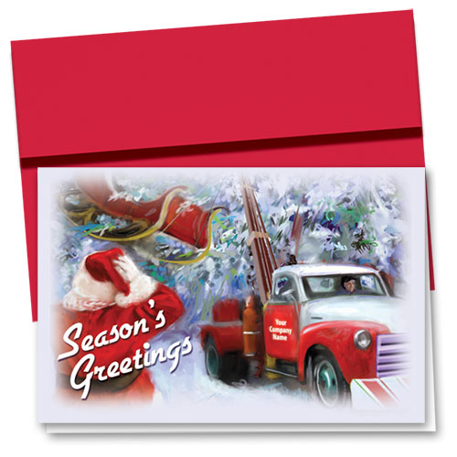 Double Personalized Full-Color Auto Holiday Cards - Santa Rescue