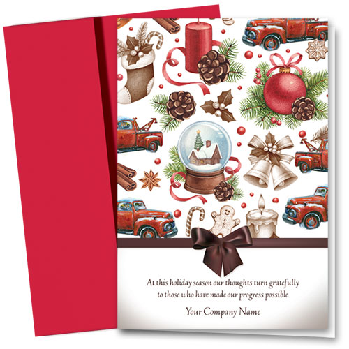 Double Personalized Full Color Holiday Card-Holiday Spice