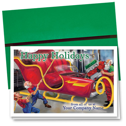 Double Personalized Full-Color Auto Holiday Cards - Holiday Overhaul