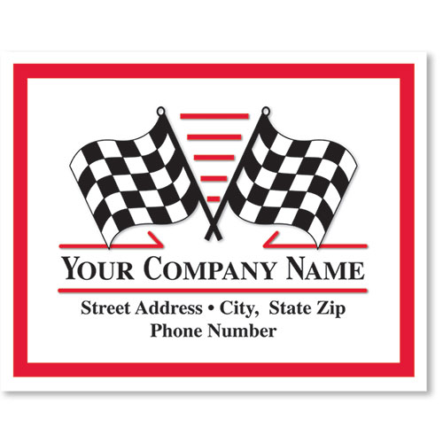 Personalized Full-Color Paper Floor Mats - Checkered Flags