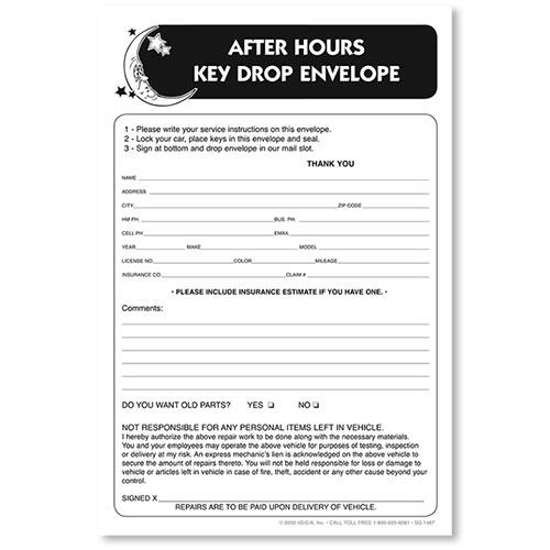 Key Drop Envelopes Autobody
