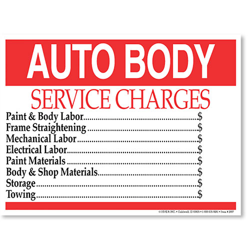 Utility Body Signs : Auto body service charge shop signs supply