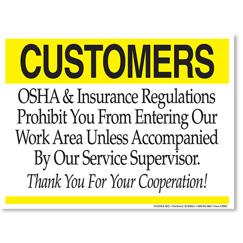 Osha Insurance Regulations Auto Body Shop Signs
