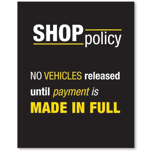 Contemporary Acrylic Signs No Vehicles Auto Body Supplies