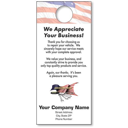Pride Auto Sales >> Automotive Thank You Hang Tags - American Pride