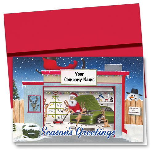 Double Personalized Full-Color Auto Holiday Cards - Beware of Snowman