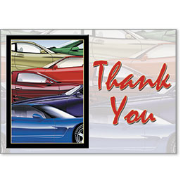 Automotive Thank You Postcards - Colorful Cars
